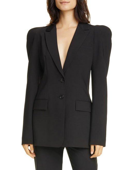 black puff sleeve blazer fountainof30