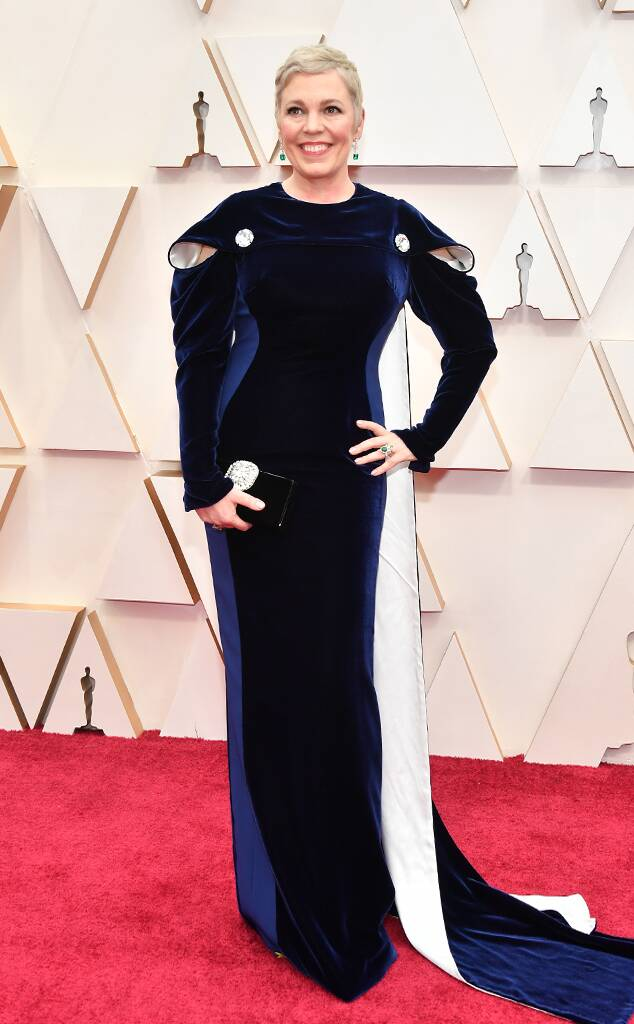Olivia Coleman in blue Stella McCartney gown with cape