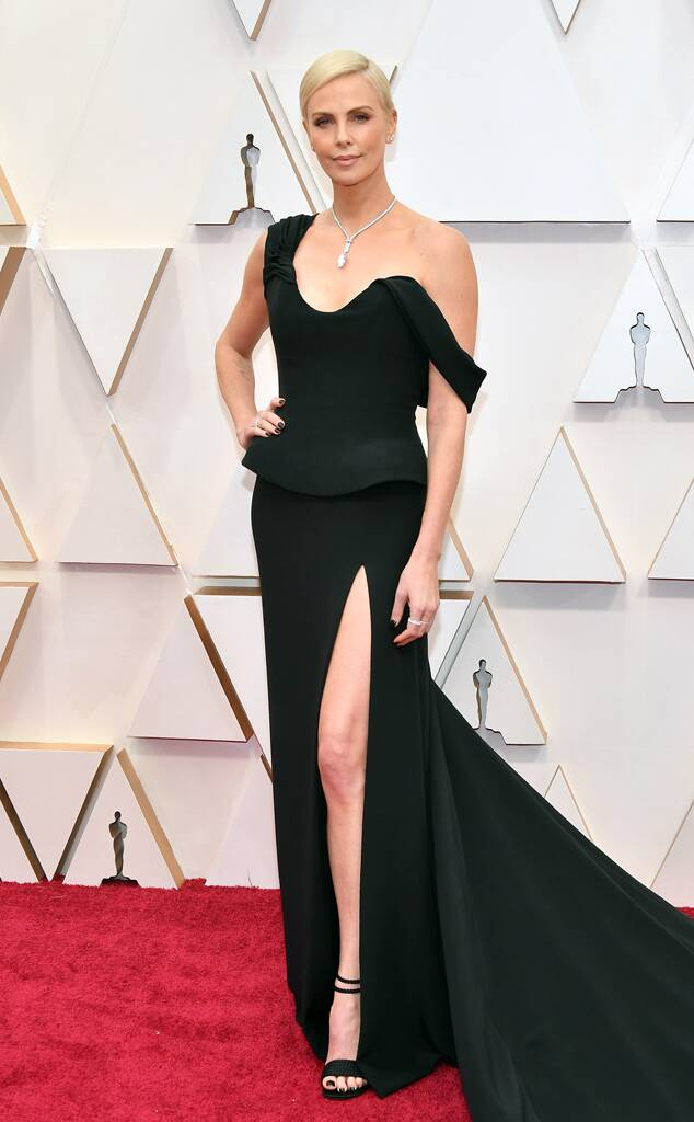 Charlize Theron in black Dior gown oscars 2020
