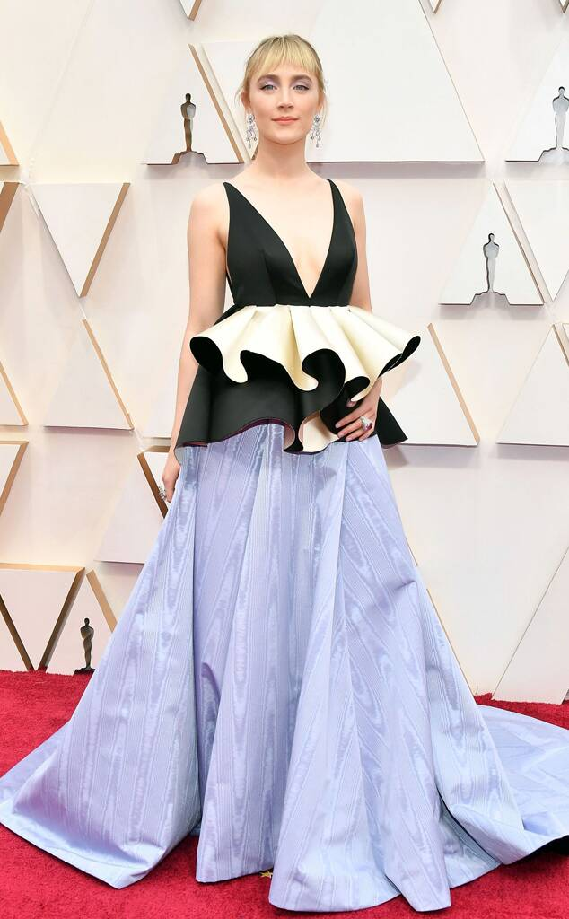 Saoirse Ronan in black and light blue Valentino