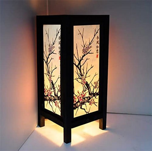 """Cherry Blossom White Black Pink Painting 11"""" Wood Bedside or Table Lamp"""