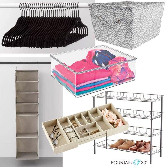 closet organization storage hangers bins racks boxes fountainof30