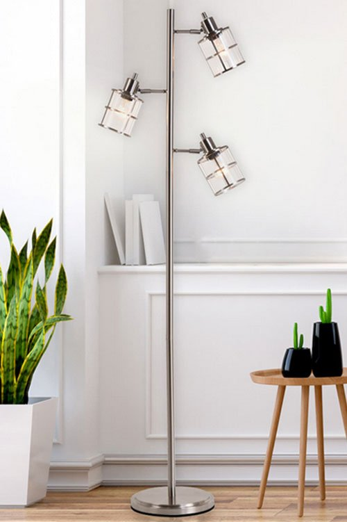 Ribbed Glass 3-Head Floor Lamp