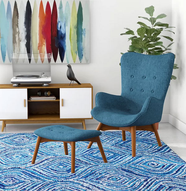 blue Chair and Ottoman