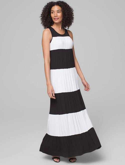 Soma Colorblock Maxi Dress black white stripe fountainof30