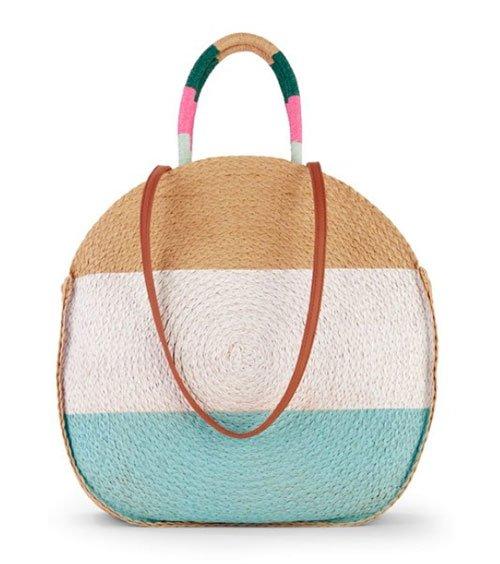 shop walmart designer fashion time and tru riped Straw Circle Tote Bag fountainof30