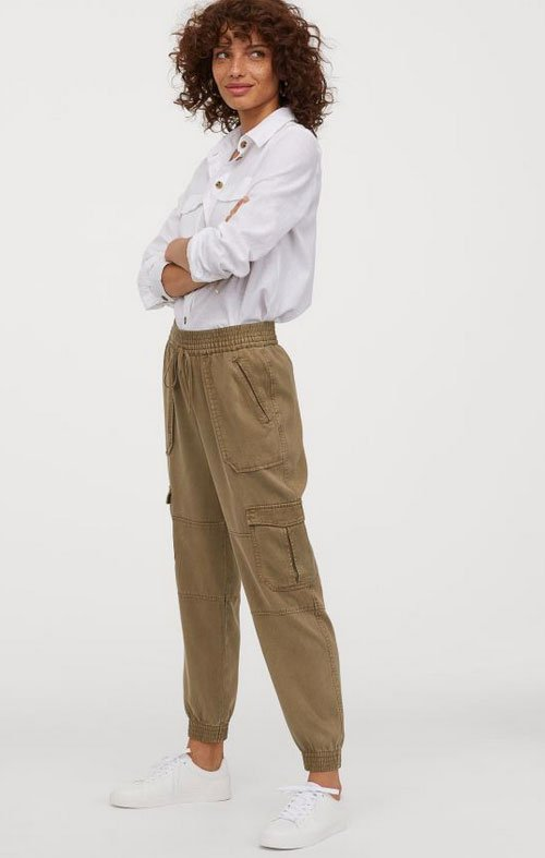 HM Lyocell Utility Joggers with white shirt fountainof30