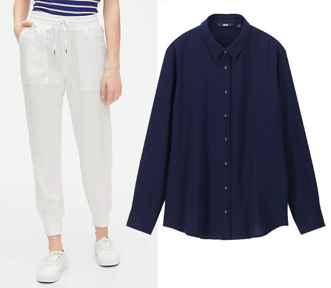 summer athleisure wear joggers and button down fountainof30