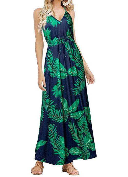 leaf print Tropical Summer Maxi Dress,
