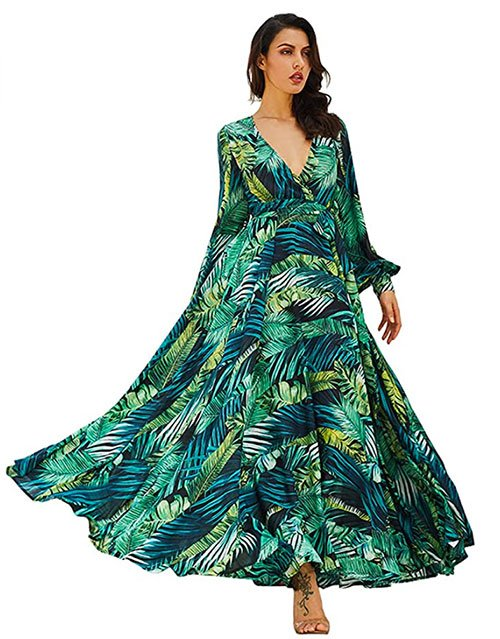 R.Vivimos Chiffon Print V Neck Long Sleeve Tie Waist Maxi Dress