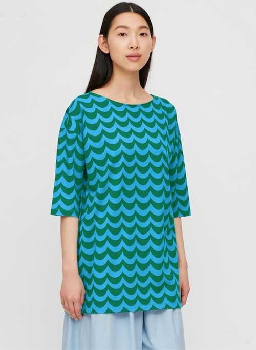 Uniqlo Marimekko 3/4 Sleeve Tunic blue wave print fountainof30