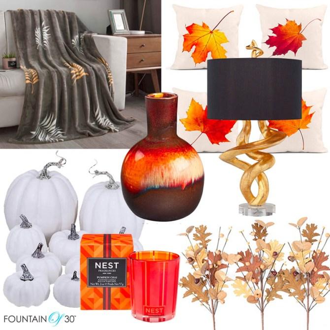 amazon fall home decor ideas throw pillows lamp pumpkins fountainof30