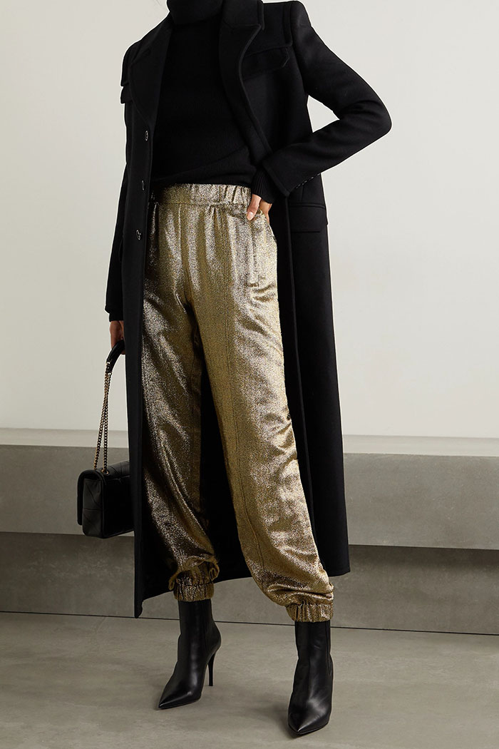 ysl dressy track pants and black ankle booties fountainof30