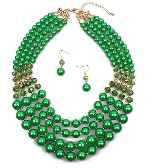 holioday green Bib Choker Necklace Earring Set