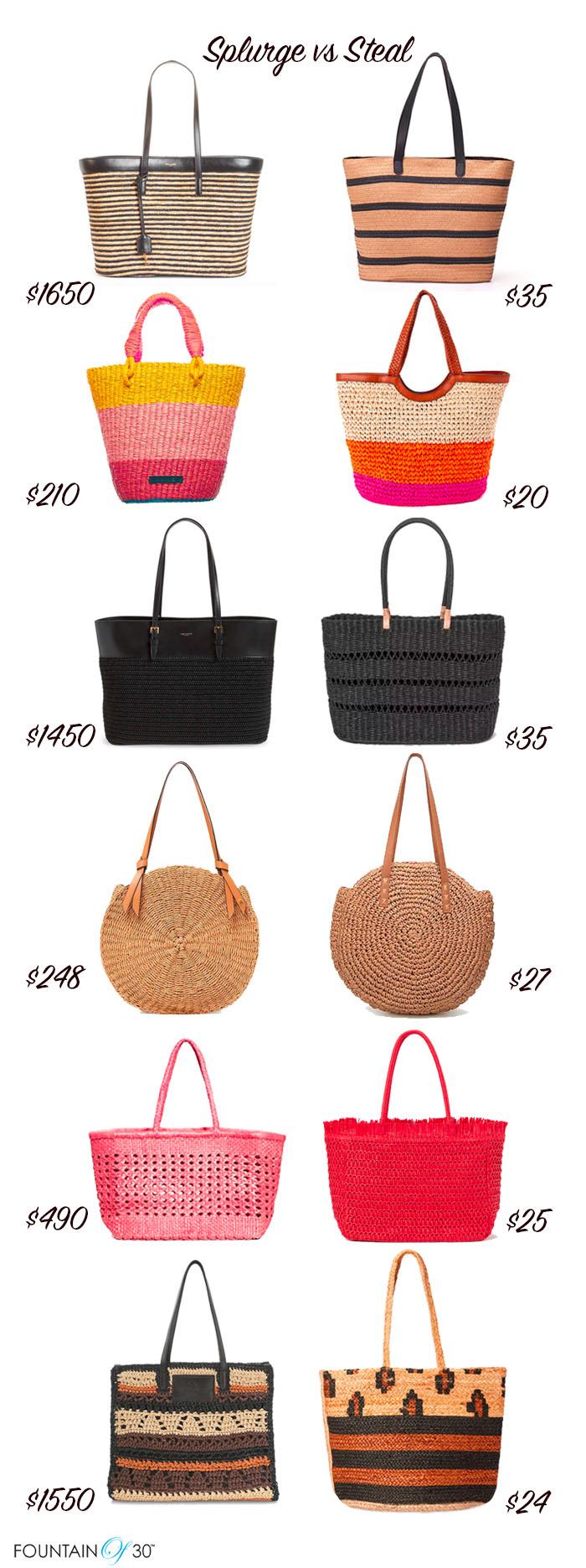 beach bags straw totes splurge vs steal fountainof30