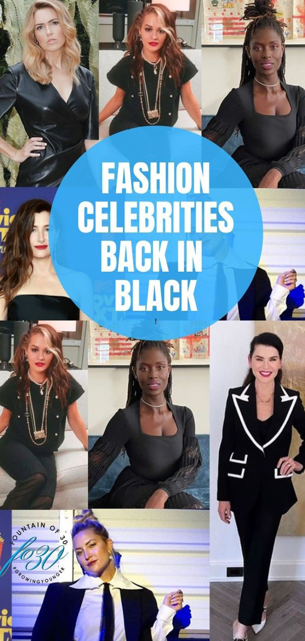 fashion celebrities in black