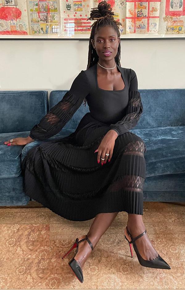 clebrities in black jodie turner smith black alaia dress fountainof30