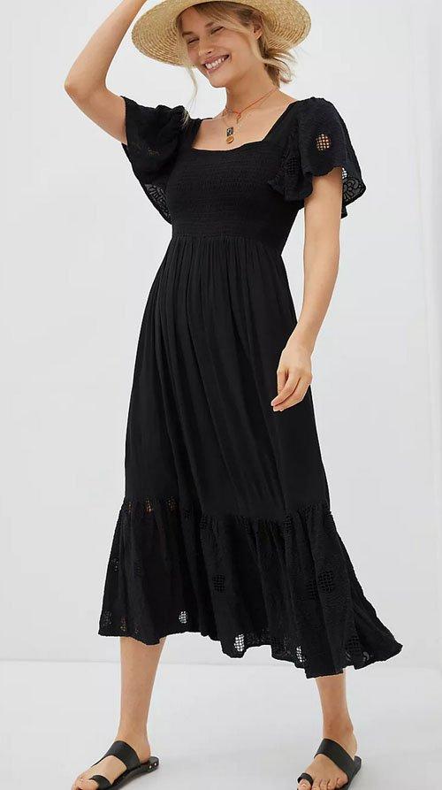smocking black midi dress fountainof30