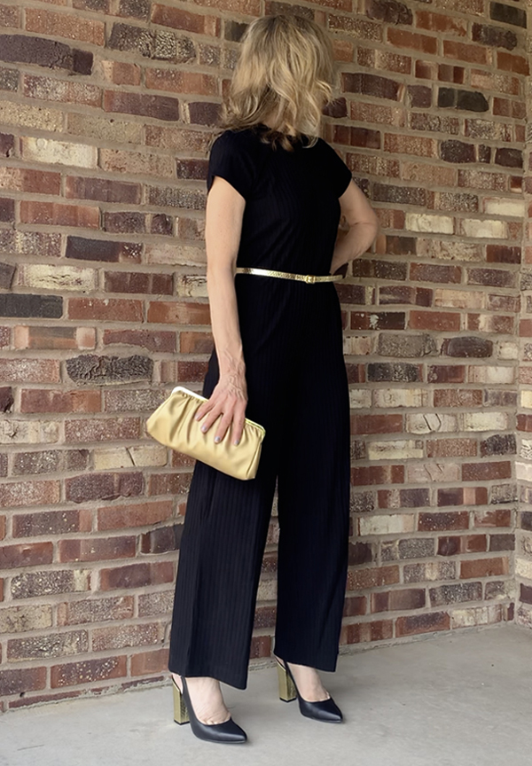 black jumpsuit evening outfit fountainof30