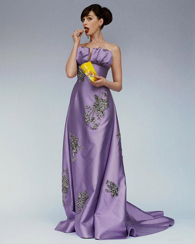 Anne Hathaway lavender prada gown standout look fountainof30