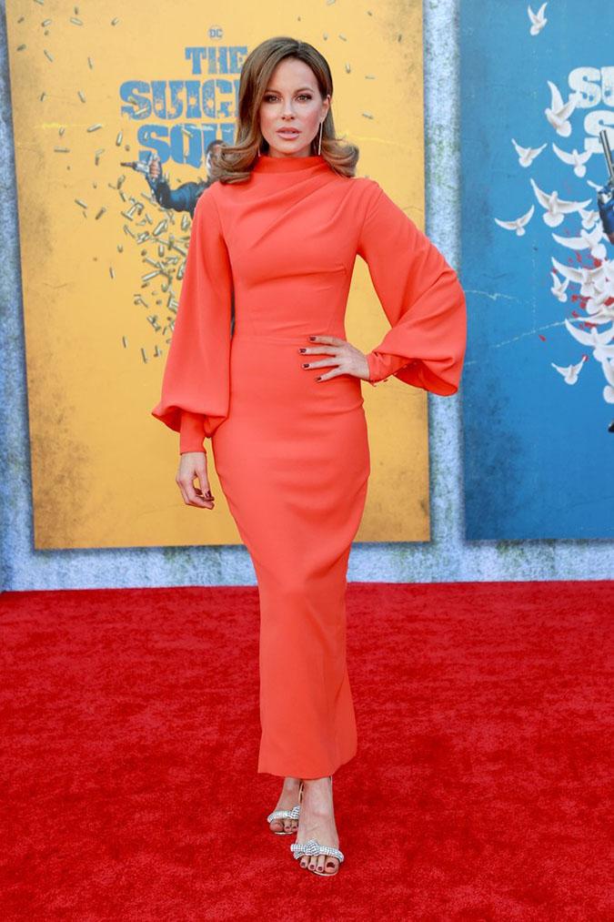 Kate Beckinsale in orange gown Rasario standout look fountainof30
