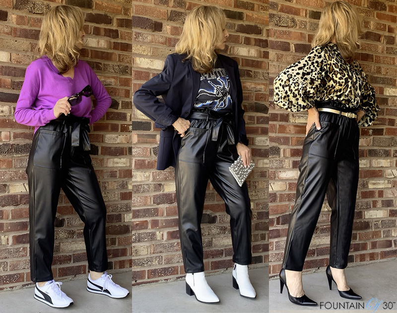 how to wear faux leather paper bag pants fountainof30