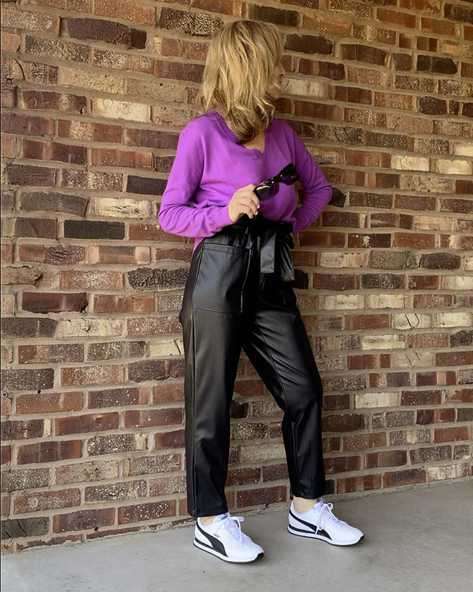 sporty daywear faux leather paper bag pants fountainof30