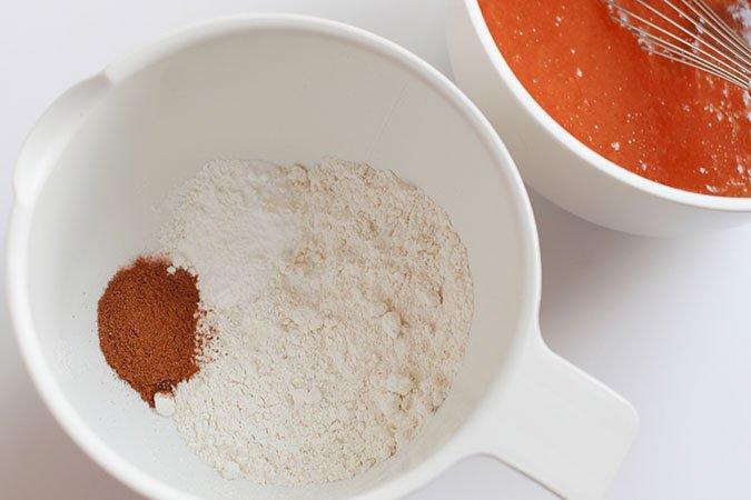 flour, pumpkin pie spice, baking powder, baking soda and salt