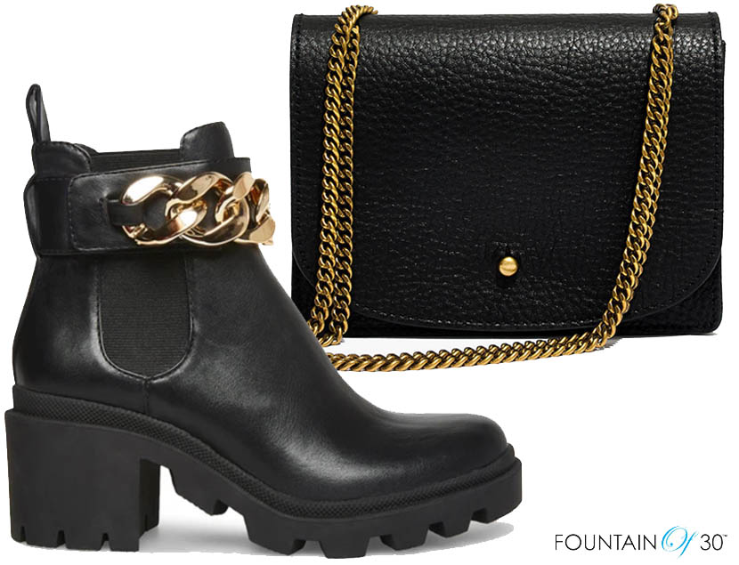 outfit styling chain boot and bag fountainof30