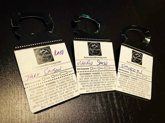 Growler Tags from Relentless Brewing Company