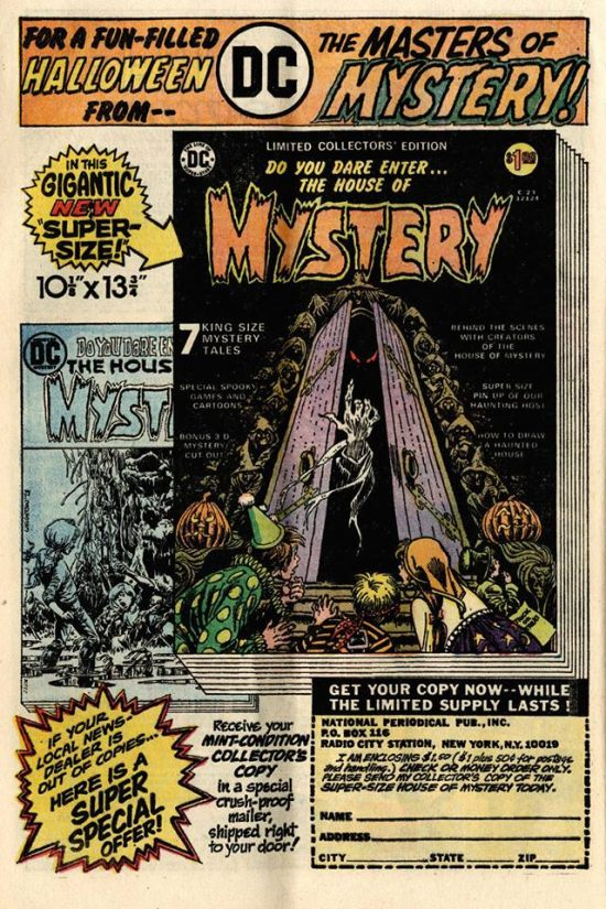 House of Mystery Limited Collector's Edition (C-23) house ad