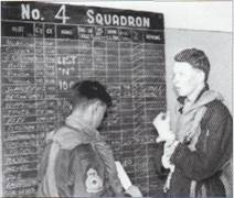 Fg Off Tony 'Bugs' Bendell being briefed during a IV(AC) Squadron Sylt Armament Practice Camp by Fg Off Alan Pollock (right in dyed, rifle green 26 (AC) Sqn flying suit) probably in March 1958