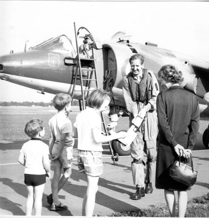 With his family, Dunsfold, August 1967