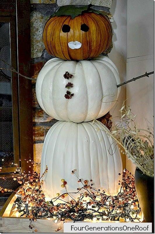 FAll mantel snowman pumpkin