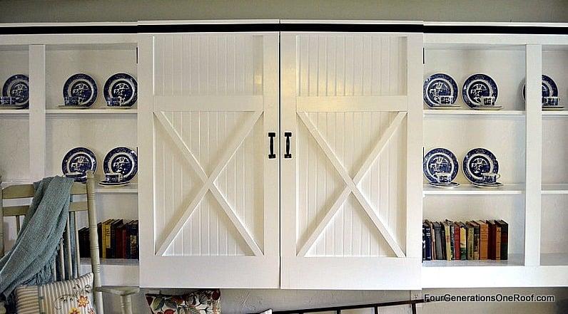 diy barn closet doors, storage locker, mudroom area