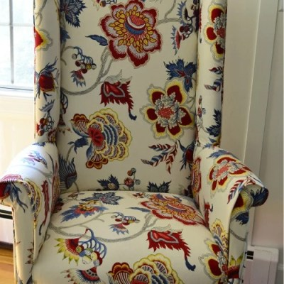DIY reupholstered wingback chair {before & after}