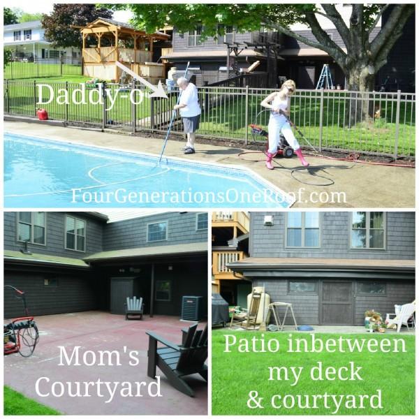 powerwashing pool and courtyard