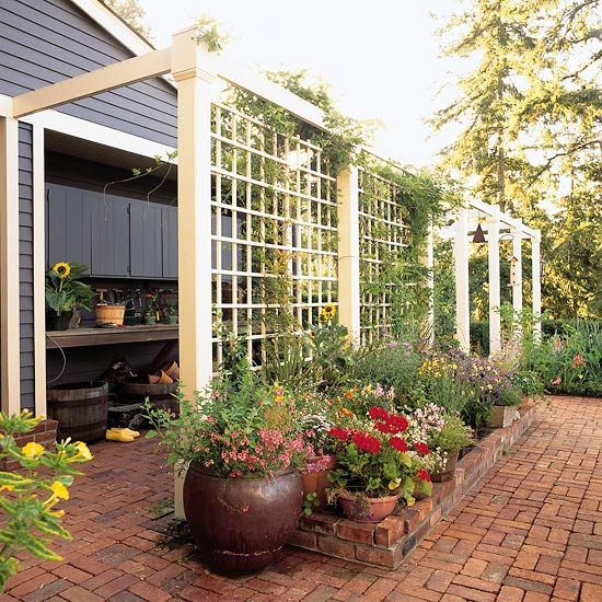 lattice screen on patio with flowers