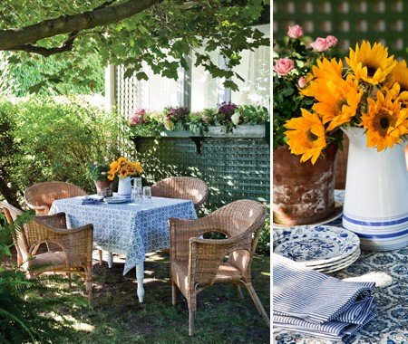 patio privacy fence with flower and patio table