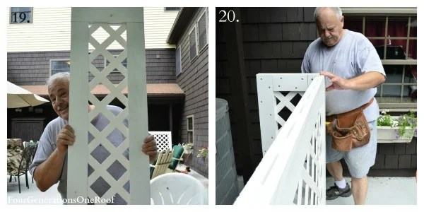 How to build a lattice privacy screen {diy tutorial}, privacy screen with my dad