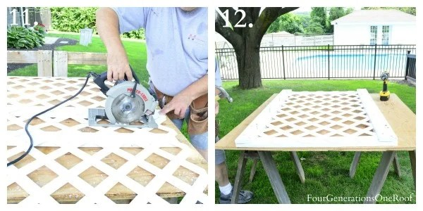 My dad cutting white vinyl fence with skill saw - how to build a lattice privacy fence