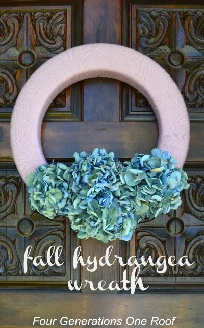 Fall pink and white hydrangea wreath