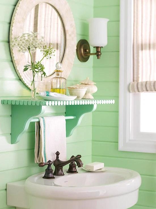 Decorative bathroom shelf with mirror