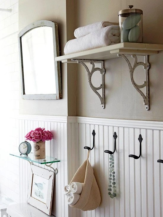 Simple pine shelf with rod iron corbels