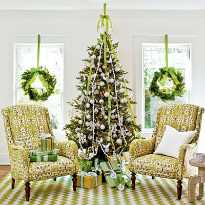 White christmas tree with fresh greens