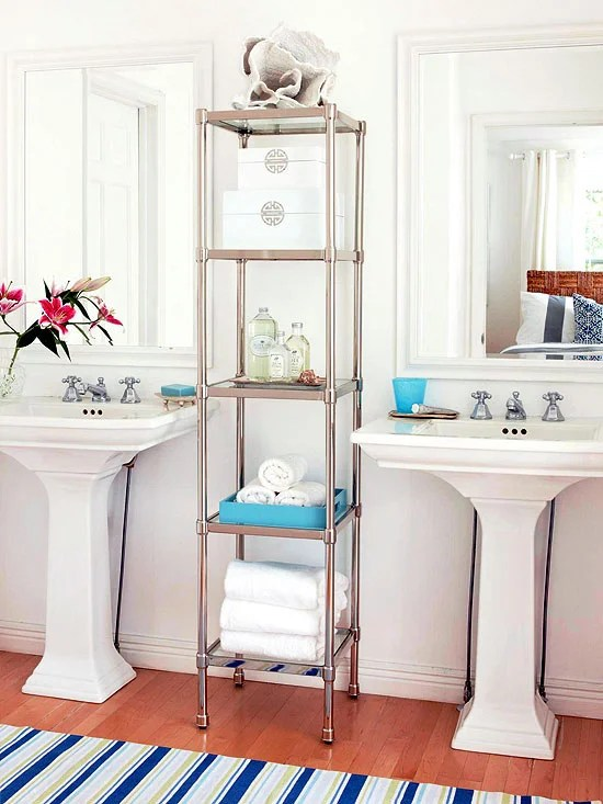 stainless steel finish and glass shelving for bathroom storage