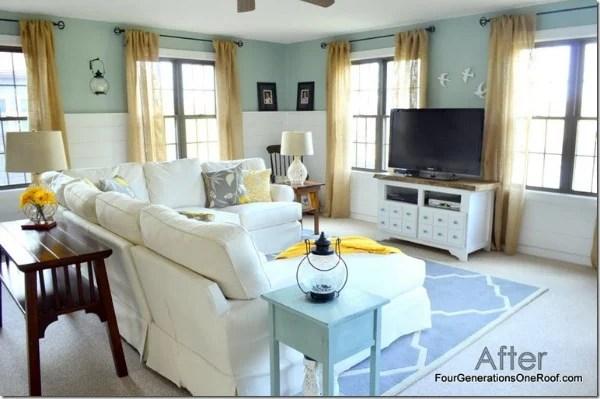 Coastal Cottage family room makeover