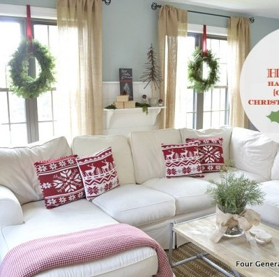 How to hang shelves {our Christmas mantel}