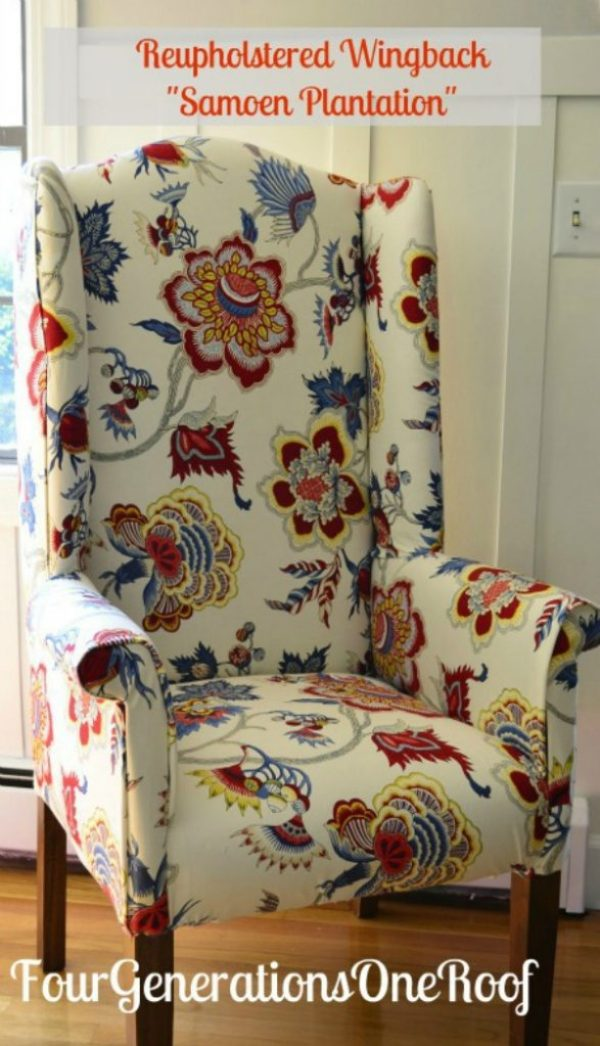 Reupholstered wing back chair