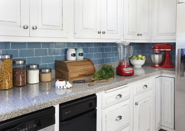 modern cottage kitchen makeover with red accents